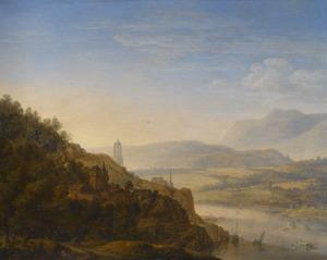 Weids Rijnlandschap met reizigers op de voorgrond, in het midden de Domtoren van Utrecht
