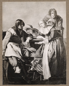 Drie mannen en een vrouw kaarten in een interieur