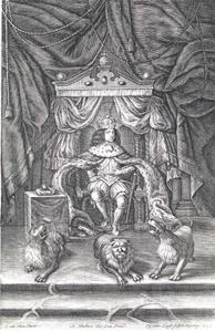 Koning Christiaan V in inhuldigingsornaat op de troon
