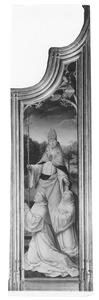 De H. Bernardus, bijgestaan door de H. Malachus, introduceert zijn familie aan Maria met het kind (Altaarstuk van Le Cellier)