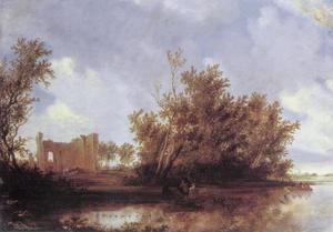 Rivierlandschap met ruïne op linkeroever