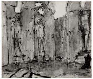 Zuilengang met tempelbeeld op de voorgrond