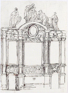 Ontwerp voor een altaar met de aanbidding van de drie koningen