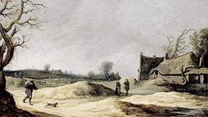 Duinlandschap met boerderij en een weide, een galgenveld op de achtergrond