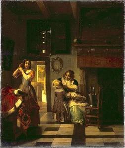 Twee vrouwen en een kind in een voornaam interieur