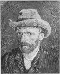 Zelfportret met een grijzen vilten hoed: driekwart naar links