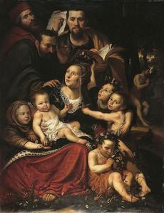 Porret van een familie als Caritas met zelfportret van Werner van den Valckert; rechts op de achtergrond een prekende St. Johannes de Doper