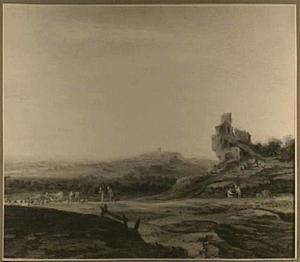Panorama over een heuvelachtig landschap met herders en spaarzame bebouwing