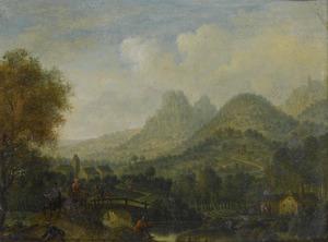 Berglandschap met ruiters op een brug