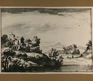 Italianiserend heuvellandschap met kerk, op de achtergrond een burcht in het water