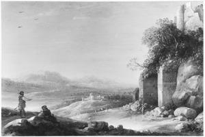 Zuidelijk landschap met herders en reizigers bij een ruïne