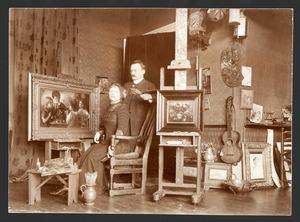 De schilderes Hetty Broedelet (1877-1966) in haar atelier met een man, mogelijk haar man André Broedelet