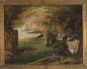 Vlucht van Aeneas, Anchises en Ascanius uit het brandende Troje