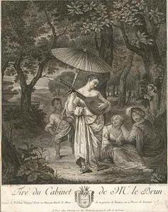 Een jonge vrouw spelend op de luit voor een amoureus paartje, achter haar een bediende met een parasol