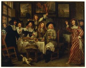 Een maaltijd van Antwerpse kunstenaars (?)
