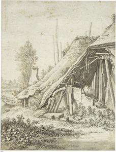 Boerderijen met stormschade in Abstede bij Utrecht
