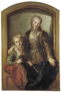 Portret van Madame Dupillé, geboren Marie-Anne Rollot de La Tour en haar dochter