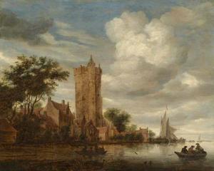Rivierlandschap met de Utrechtse Bijlhouwerstoren