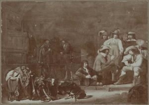 Converserende, rokende en kaartspelende soldaten in een wachtlokaal