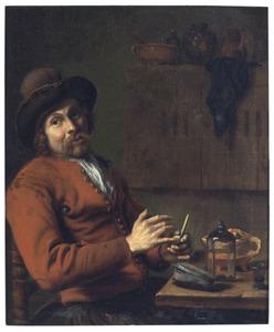 Een roker stopt zijn pijp