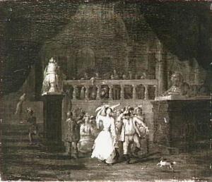 Dansend gezelschap in een paleis