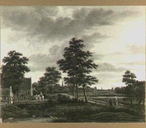Landschap in de omgeving van Rotterdam (op de achtergrond de kerk van Overschie)