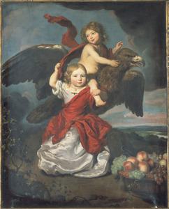 Dubbelportret van een jongen en een meisje als Ganymedes en Hebe in een landschap