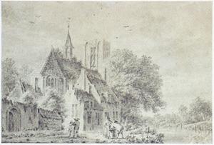 Landschap met figuren bij een kerk