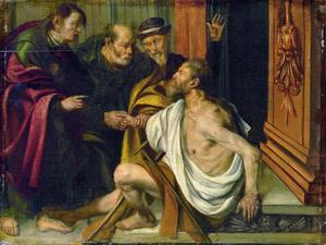 Petrus en Johannes genezen een verlamde bedelaar aan de Gouden Poort