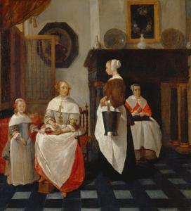Interieur met een vrouw die haar dienstmeid geld geeft, met een meisje en nog een dienstmeid
