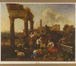Zuidelijk landschap met marktkoopvrouwen bij een fontein