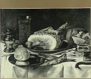 Stilleven met ham, sprot en pijpen
