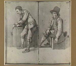 Leunende en zittende man