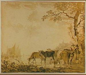 Riviergezicht met boten, koeien en figuren