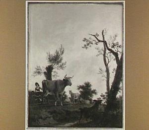 Landschap met vee en herders bij een beek