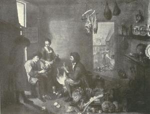 Keukeninterieur met vijf personen bij het plukken van een kip