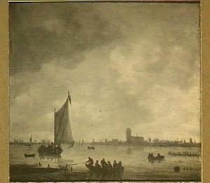 Schepen op de rivier met op de achtergrond een gezicht op Dordrecht