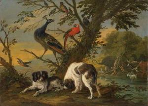 Twee honden en een pauw onder een boom, op de achtergrond de Zondeval (Genesis 3:6)