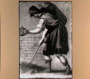 Man met een lantaarn en stok