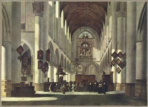 Interieur van de Grote- of St. Bavokerk te Haarlem
