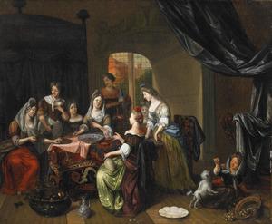 Interieur met damesgezelschap bij een glas wijn