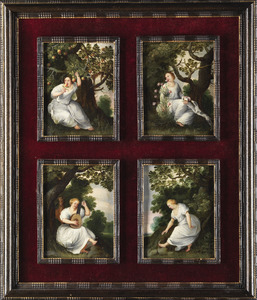 Vierluik met jonge vrouwen in een landschap als allegorie van de vier zintuigen Smaak, Reuk, Gehoor en Gevoel
