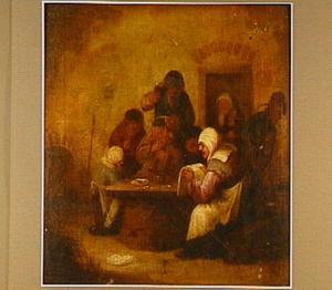Musicerend, zingend en drinkend  boerengezelschap rondom een tafel
