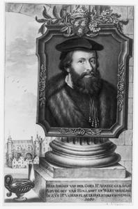 Portret van Adriaan van der Goes (1504/1505-1560), met in de achtergrond de Ridderzaal op het Binnenhof in Den Haag