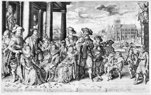 Portret van Frederik Hendrik van Oranje-Nassau (1584-1647), Frederik V van de Palts (1596-1632) en Ernst-Casimir van Nassau-Dietz (1573-1632) met hun families