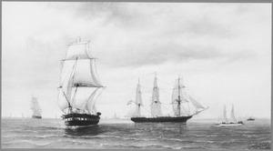 Oorlogsschepen en jachten op de rede