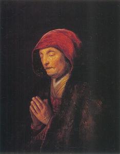 Borststuk van een oude vrouw in gebed