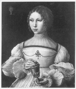 Portret van een jonge vrouw als Maria Magdalena