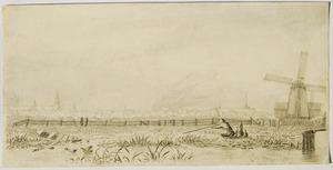Eendenjacht met op de achtergrond een stad, mogelijk Hoorn