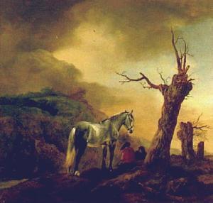 Rustende mannen naast een schimmel in een landschap met opkomend onweer
